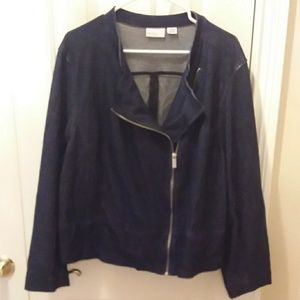 Liz Claiborne dark wash denim jacket sz 3X